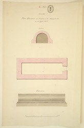 Plan, elevation and section of magazine on the upper fort